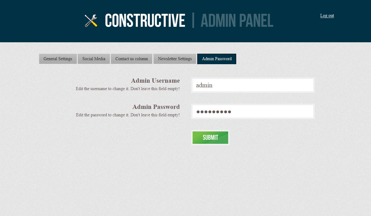 Constructive - Responsive Under Construction Page - COnstructive - Admin Panel, Username & Password Settings
