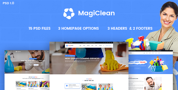 MagiClean - Cleaning Services Business PSD Template