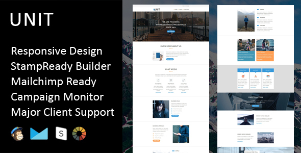 Unit - Multipurpose Responsive Email Template + Stampready Builder