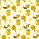 Seamless Pattern With Honey, Bees, Honeycomb, Drop