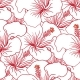 Red And White Hibiscus Seamless Pattern. Hawaiian