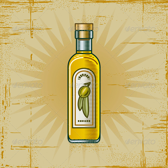 Retro Olive Oil Bottle