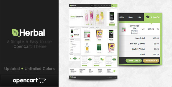 ThemeForest Herbal OpenCart Theme 1628239