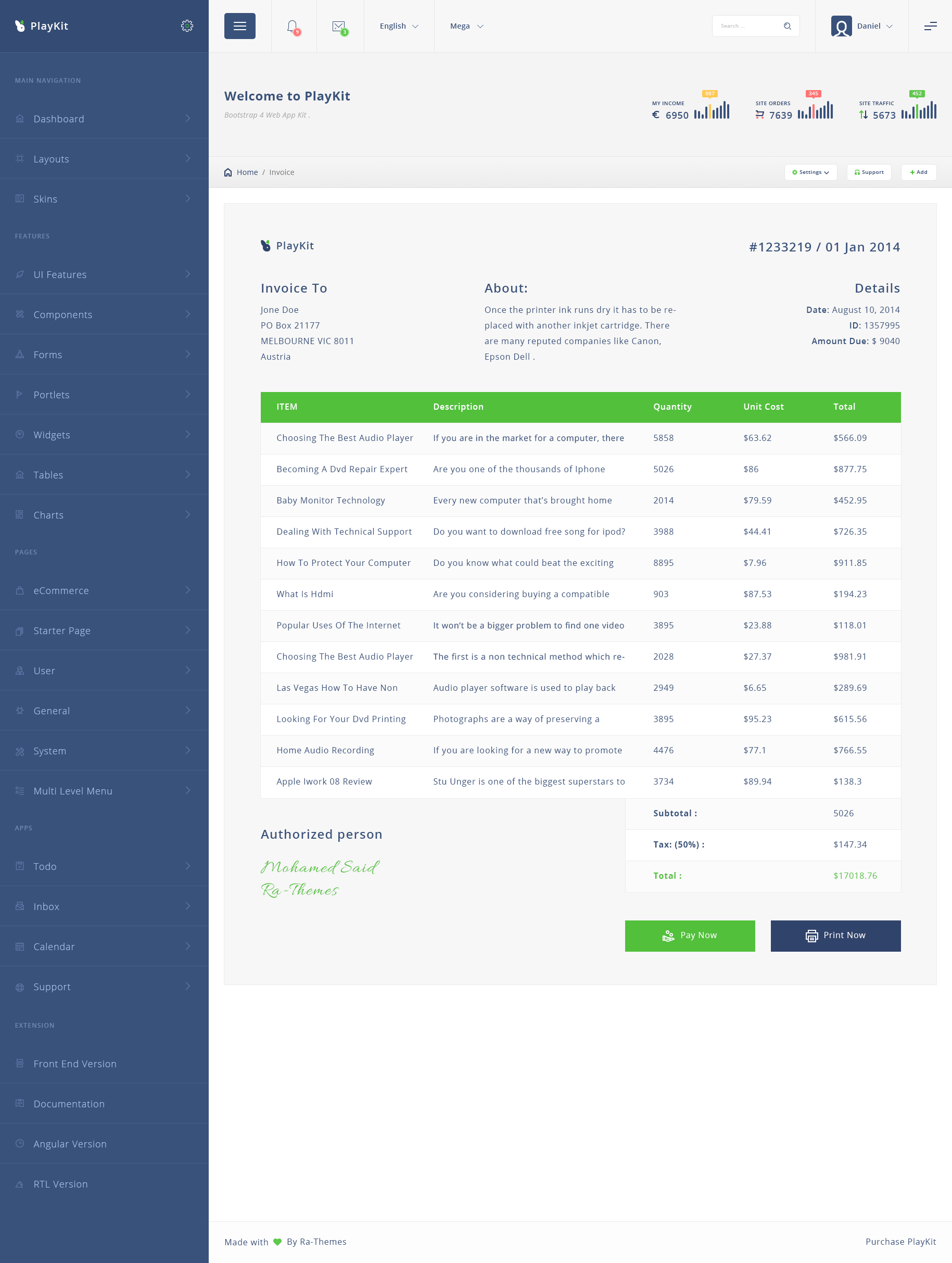 playkit - web app psd template by ra-themes | themeforest, Invoice examples