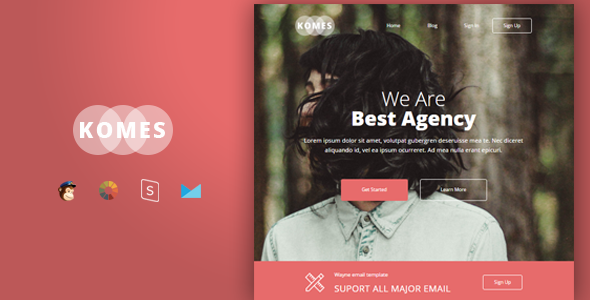 Image of Komes - Multipurpose Responsive Email Template + Stampready Builder