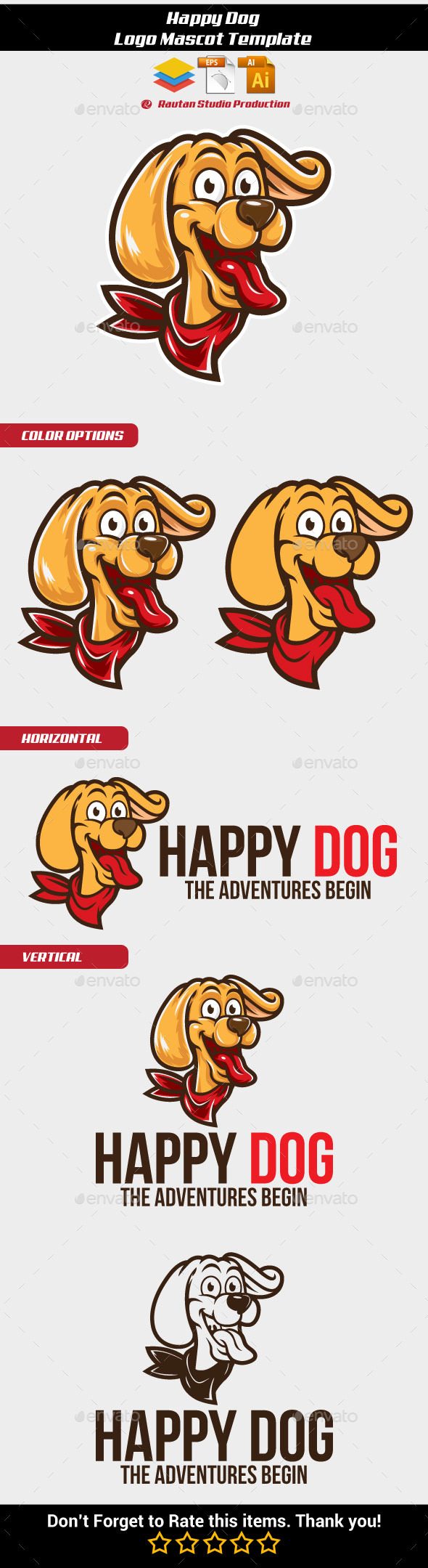 Happy Dog Logo Mascot