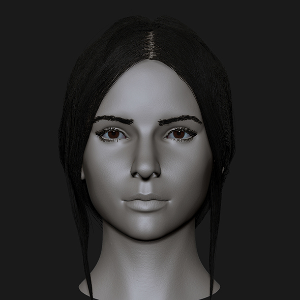 Realistic head cute brunettes girls - 3DOcean Item for Sale