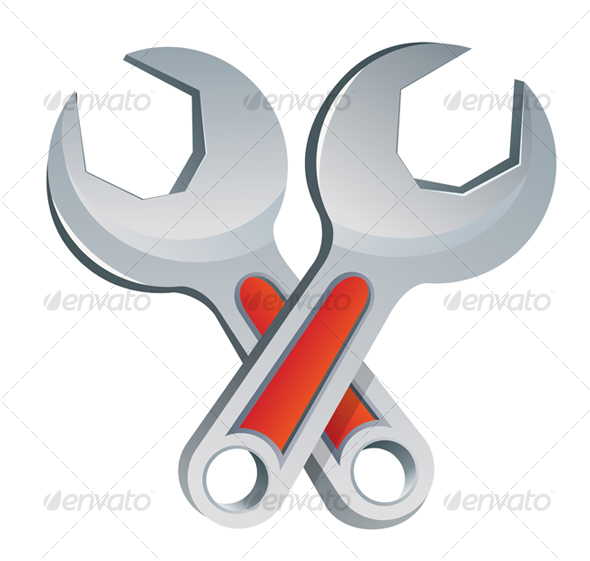 Isolated wrench symbol - Objects Vectors