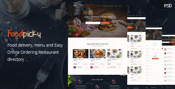 Meals Delivery Restaurant Directory WordPress Theme – FoodPicky (Directory &amp Listings)