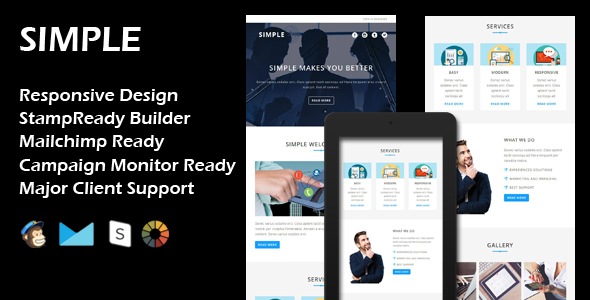 SIMPLE - Multipurpose Responsive Email Template + Stamp Ready Builder