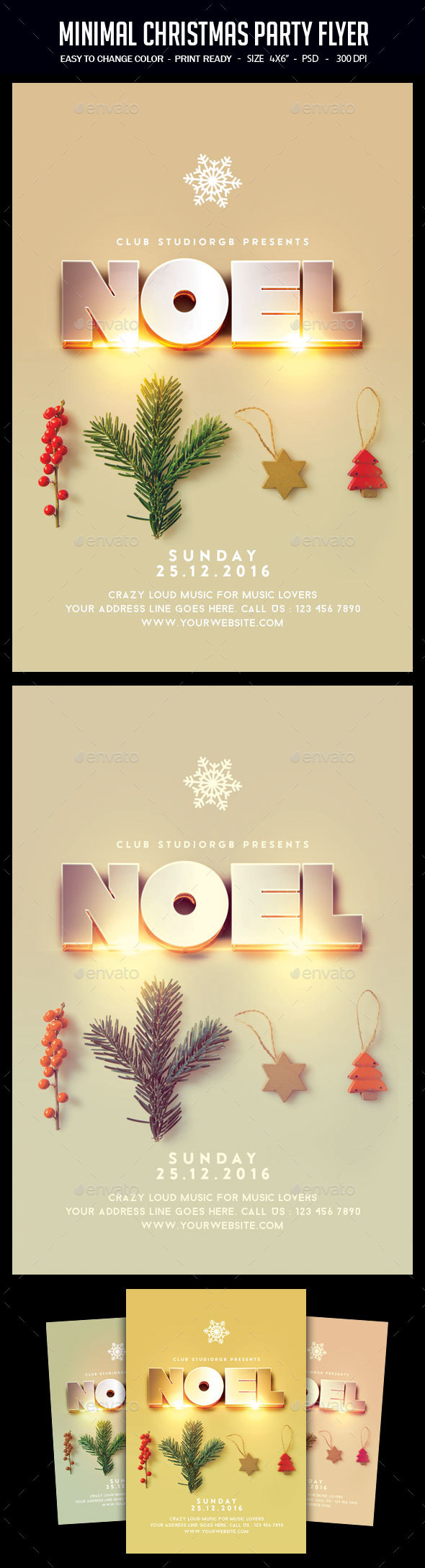 Minimal Christmas Party Flyer