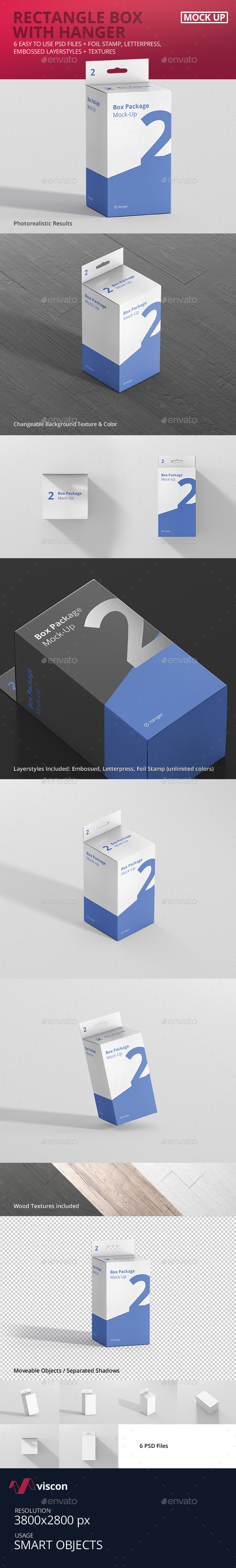 Package Box Mockup - Rectangle with Hanger