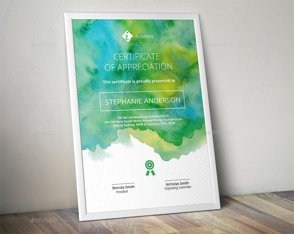 Watercolor Corporate Certificate Template by almirah – Corporate Certificate Template