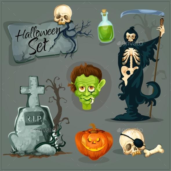 Cartoon Scary Elemens For Halloween
