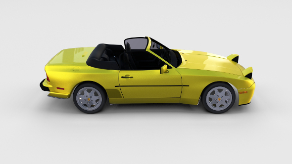 Porsche 944 Cabriolet w interior top down rev - 3DOcean Item for Sale