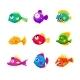 Colorful Cartoon Tropical Fish Set