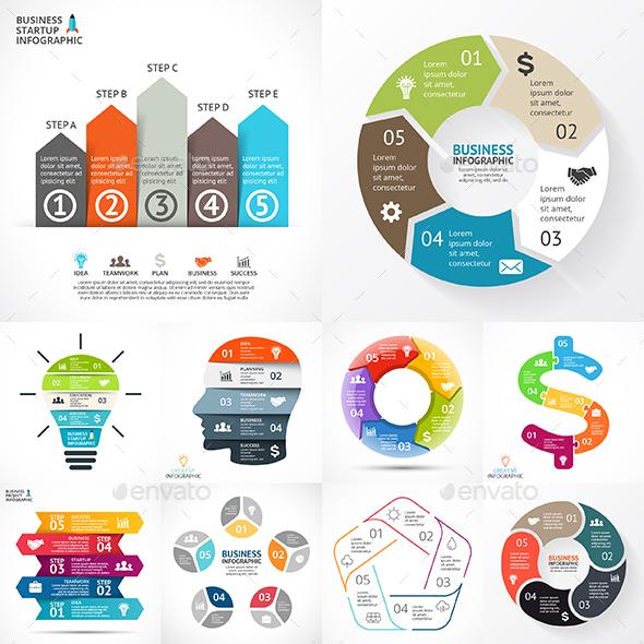 5 Steps Infographics. Vol.1