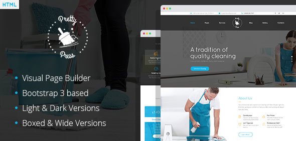Download PrettyPress - Cleaning Service HTML Template with Builder