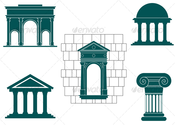 Symbols of ancient buildings