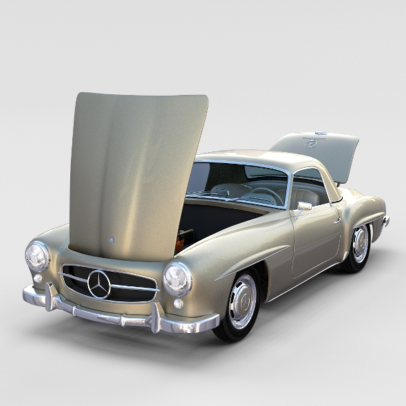 Full w interior Mercedes 190SL Hard Top rev - 3DOcean Item for Sale
