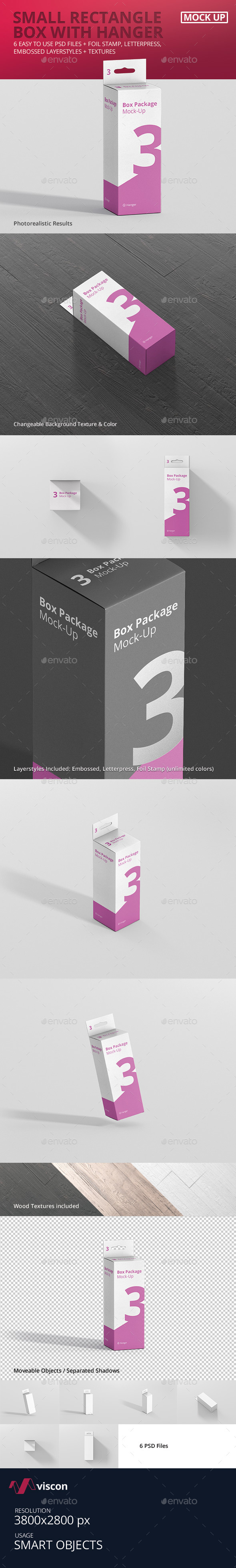 Package Box Mock-Up - Small Rectangle with Hanger
