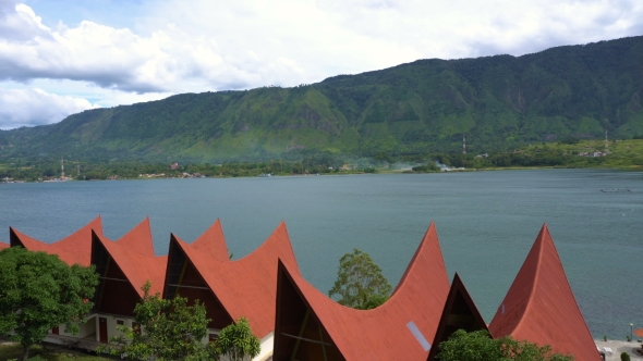 Download Panorama Of Toba Lake With Traditional Batak-style Roofs From Samosir Island nulled download