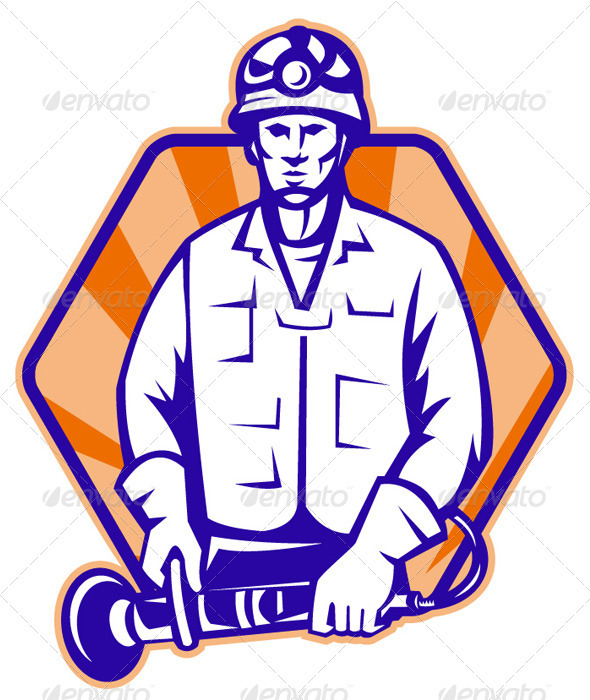 Emergency Worker With Angle Grinder Tool Retro