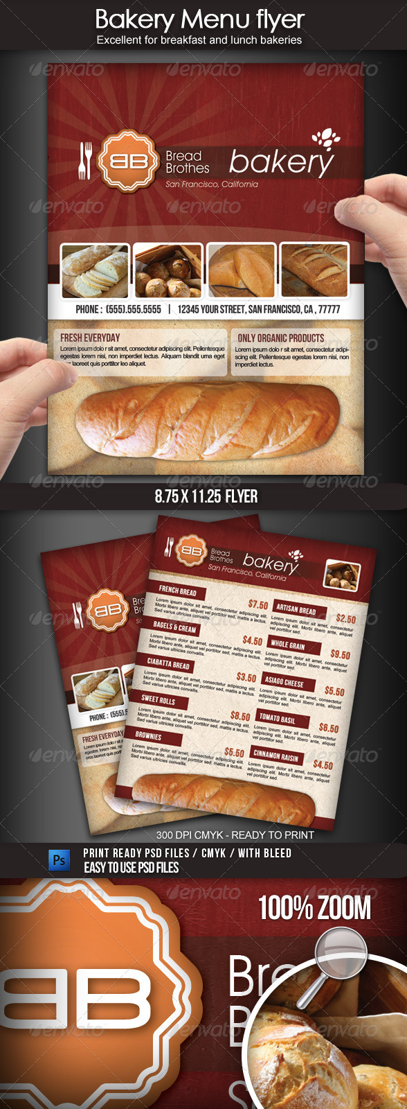 Graphic River Bakery Menu Flyer Print Templates -  Flyers 1715173