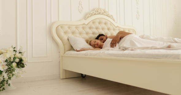 Download Couple Sleep Lying On Bed Man Hug Woman Home White Modern Bedroom nulled download