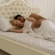Couple Sleep Lying On Bed Man Hug Woman Home White Modern Bedroom