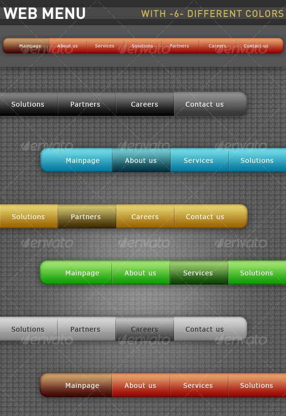 GraphicRiver Web Menu With Six Different Colors 69472