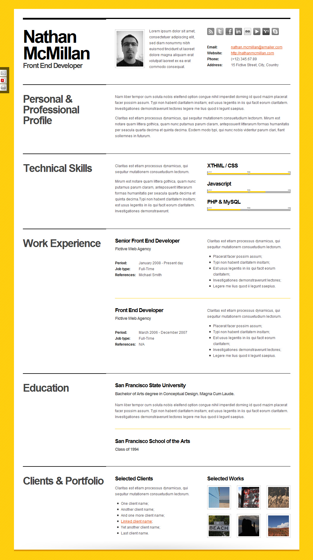 Bold - CV / Resume Template - Minimal & Smart