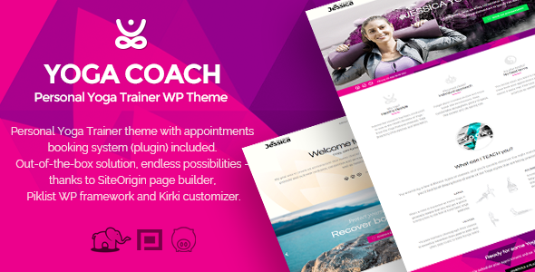 Yoga Coach - personal yoga trainer WP theme (with booking system)
