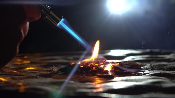 Download Gas Burner In Action. Burning Wooden Chips nulled download