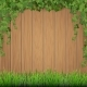 Grass and Hanging Ivy on Wooden Background