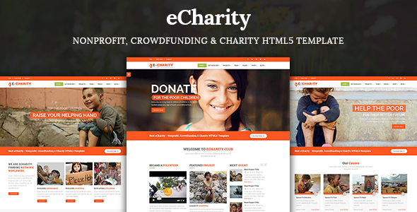 eCharity - Nonprofit, Crowdfunding & Charity HTML5 Template