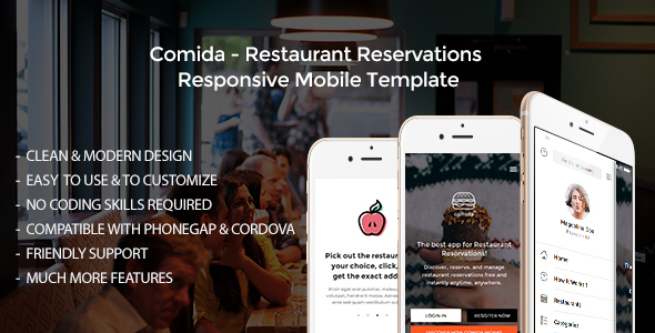 Comida - Restaurant Reservations Responsive Mobile Template