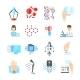 Nanotechnology Flat Icons Set