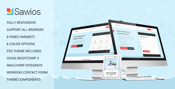 Sawios Landing Page Template for Marketing Software