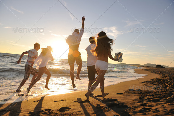 Stock Photo - PhotoDune people group running on the beach 1786041