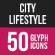 City Lifestyle Glyph Inverted Icons