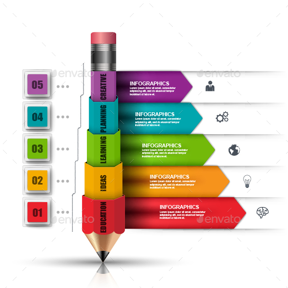 Business Education Pencil Infographic
