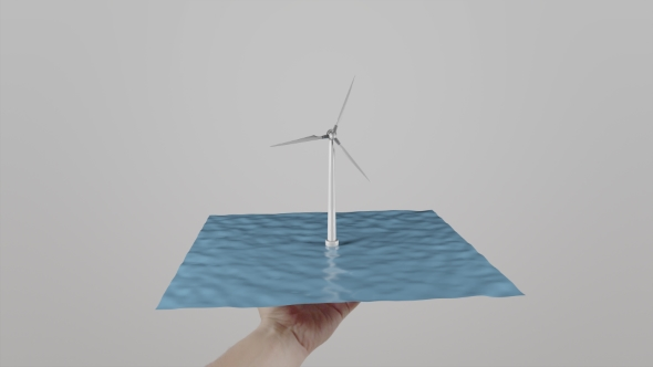 Download Man Twists In Hand a Wind Turbine Located On Water. Light Gray Background. Alternative Ecologic nulled download