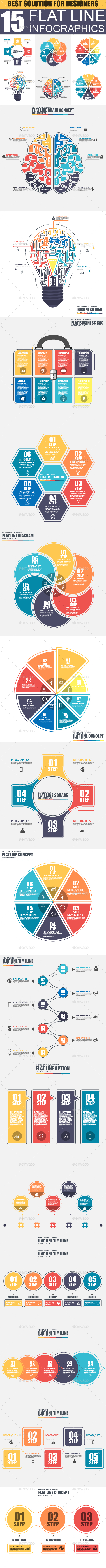 Set of Flat Line Business Infographic