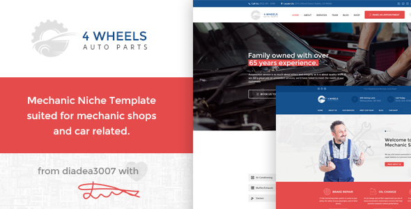 4 Wheels - Mechanic Shop PSD Template