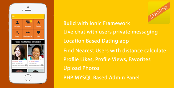 DATINGAPP is a Full Application - ionic PHP Admin Panel