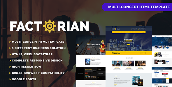 Factorian - Factory, Construction,  Auto Repair, Agency & Transport Theme