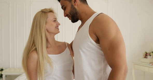 Download Couple Love Embrace Smile Standing Face to Face Mix Race Man Woman Hug Morning Bedroom nulled download