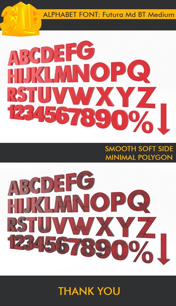 3DOcean ALPHABET Font Futura Md BT Medium 18040231