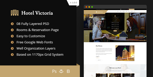 Hotel Victoria - Hotel & Resort Bootstrap PSD Template